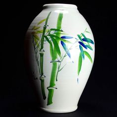Tall white vase with Chinese bamboo water color by Wing K Leong #caldwellpottery #porcelain #handmade #wheelthrown #handthrown #handpainted - - - #pottery #clay #claylove #ceramics #chinese #chinesepainting #art #functionalart #chineseart #etsy #etsyshop #etsypottery #utah #parkcity #utahart #utahartist #artist