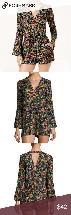 JESSICA SIMPSON 💕 French Cluster Black Romper Beautiful bell sleeves and a fun floral print will make you want to romp around everywhere when wearing this trend-savvy romper. Pair with your favorite booties or wedges for a chic look you'll want to wear all season long. • Approximately 32in. • Button closure, drawstring closure • V-neck • Long bell sleeves • Unlined • Woven fabric • Viscose • Machine washable or dry clean for best results • Imported Jessica Simpson Pants Jumpsuits & Rompers