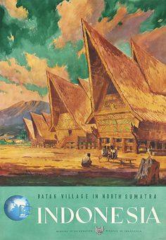 Old Original 1950s Indonesia Travel Poster - by PosterConnection Inc.