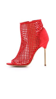 Jerome C. Rousseau Addic Perforated Booties - Red