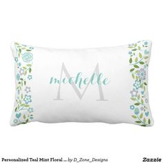Personalized Teal Mint Floral Monogram Pattern