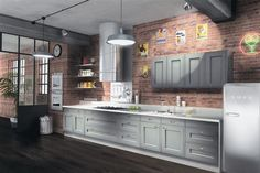 gray cabinets paired with Brick wall kitchen