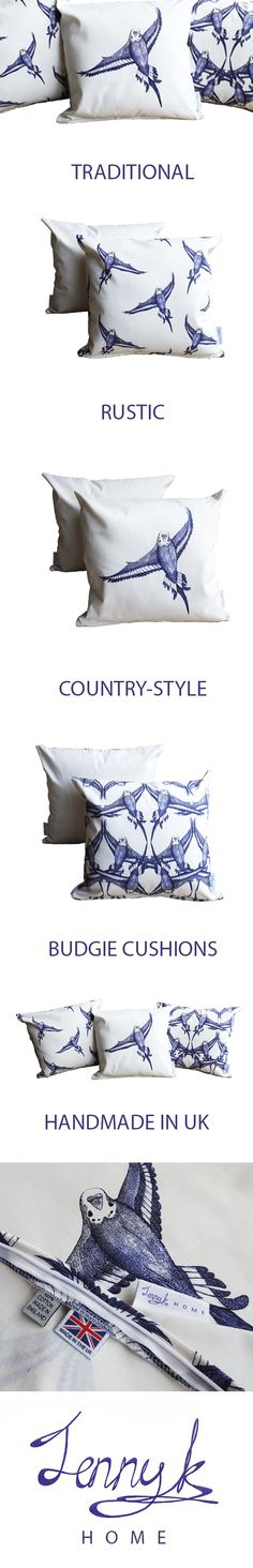 Country Bird Cushions . . . Budgie in flight patterned cushion cover - Handmade in the UK by Jenny in Wootton, Bedfordshire. Rustic country style that'll suit traditional style interiors. Made with blue and white 100% high quality cotton. Measures 48cm x 48cm (fits 50cm x 50cm cushion filler). Buy on Etsy.