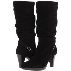 La Canadienne Melrose ($213) ❤ liked on Polyvore featuring shoes, boots, heels, black, sapatos, mid-calf boots, heel boots, mid calf high heel boots, black high heel boots and long black boots