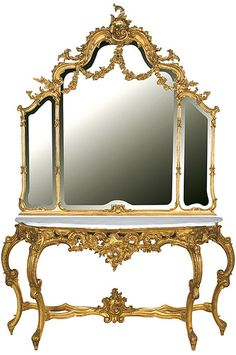 Gilt Swags & Bows Table & Mirror