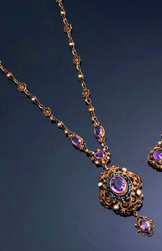 An antique vermeil, enamel, amethyst and pearl Necklace, ca. 1880. https://musetouch.org/?cat=29