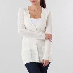 V-Neck Button Front Cardigan Sweater