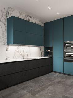 Blueberry flat on Behance Kitchen Room Design, Modern Kitchen Design, Home Decor Kitchen, Green Kitchen Designs, Modern Interior Design, Studio Kitchen, Condo Kitchen, Easy Home Decor, Home Decor Trends