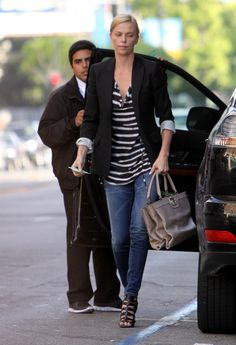 Charlize Theron, stripes, blazer