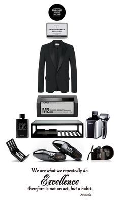 """excellence"" by didesi ❤ liked on Polyvore featuring Yves Saint Laurent, Patricks, Lab Series, Triumph & Disaster, Panasonic, Giorgio Armani, men's fashion, menswear, men and man"