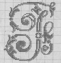 Fancy alphabet letter q Perler Patterns, Crochet Patterns, Cross Stitch Alphabet Patterns, Family Ornament, Alphabet And Numbers, Loom Beading, Cross Stitching, Needlepoint, Needlework