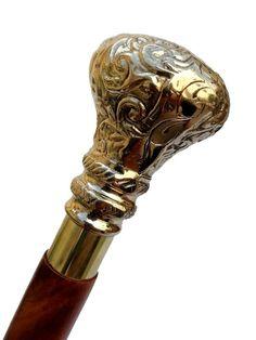 Designer Vintage Walking Stick Brass Handle Twist Cane Brown Wooden Item Gift