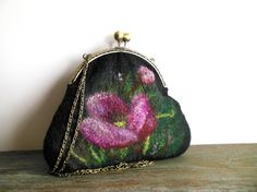 Felted bag Hand felted bag flower pink poppy green purse  pouch  metal frame purse, wool felted, OOAK bag, designer bag, one of the kind bag