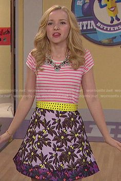 Liv's floral skirt and striped top on Liv and Maddie.  Outfit Details: http://wornontv.net/50741/ #LivandMaddie