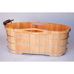 "Alfi Brand 61"" Free Standing Oak Wood Bath with Cushion Headrest"