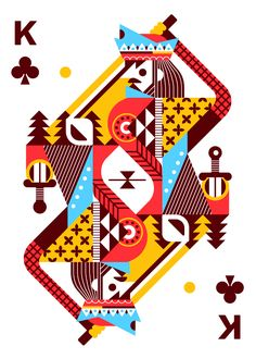 Ricky Linn's first version of Royal Seasons playing cards has already been featured on pages of this site. He is designing new Royal Seasons playing cards dedic… Graphic Design Illustration, Illustration Art, Illustrations, King Card, Playing Cards Art, Playing Card Design, Arte Popular, Objet D'art, Custom Cards