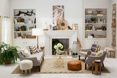 Pros know one of the keys to beautiful and interesting neutral rooms is texture. Each design choice in this living room — furniture, fabrics, throw blankets, rugs, wall art, mantel and bookshelf accessories, plus plants and flowers — was selected for the texture it adds to the overall neutral theme.