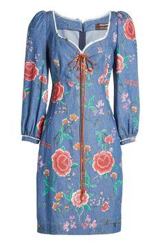 Roberto Cavalli - Embroidered Denim Lace-Up Dress