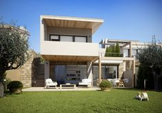 Akti Elia. A private, non commercial project consisting of four independent bioclimatic summer villas, with private gardens and a sea water swimming pool, located exactly at the sea frontline in Akti Elia, Sithonia, Greece.