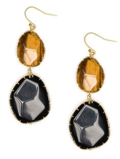 Tiger Boho Drops by BaubleBar. Tiger eye stones are my second favorite glamour rocks. These fabulous but neutral earrings can be worn at any time with anything!