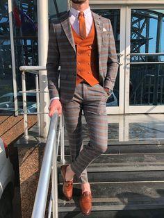 Kingston Plaid Black & Orange Suit is part of Orange suit - Suit material Viscose , Polyester , ElestanMachine Washable No Fitting Regular Slim Fit Cutting Double Slit, Double ButtonRemarks Dry Cleaner Black Suit Vest, Plaid Suit, Plaid Blazer, Black Suits, Blazer Suit, Black Men, Mens Fashion Suits, Mens Suits, Groom Suits