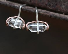 Futuristic Herkimer Diamond Stud Earrings Silver 14K Rose Gold Quartz Unique Cosmic Fantasy Design Gift Idea For Her Outer - Space Swirls