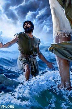 Peter walks on water.