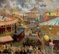 Nottingham Goose Fair - Noel Denholm Davis - Nottingham Castle Museum and Art Gallery Old Circus, Circus Art, Fun Fair, World's Fair, Nottingham Goose Fair, Nottingham Castle, Nottingham Uk, Carnival Inspiration, Village Fete