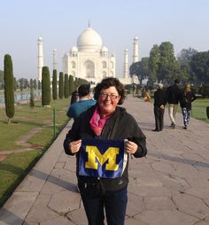 In January, Melissa McDaniels, '90, smiled in the garden of the Taj Mahal in Agra, India.