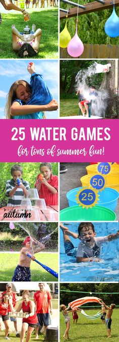 25 awesome water games to play this summer. Great ideas for summer birthdays, VBS, parties, or just fun in your own backyard! Easy summer water balloon games id Outdoor Water Games, Water Games For Kids, Outdoor Games For Kids, Summer Activities For Kids, Water Games Outside, Outdoor Toys, Outdoor Play, Outdoor Ideas, Kids Party Games