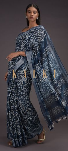Buy Online from the link below. We ship worldwide (Free Shipping over US$100)  Click Anywhere to Tag Yale-Blue-Saree-In-Linen-With-Batik-Printed-Floral-Jaal-And-Zari-Weaved-Border-Online-Kalki-Fashion Indigo Saree, Blue Saree, Plain Saree, Batik Prints, Printed Sarees, Designer Sarees, Indian Wear, Silk Sarees