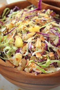 A great whole30 compliant and vegan coleslaw! Pina colada inspired - bursting with crunch, coconut flavor and sweet pineapples!