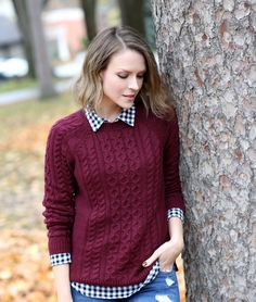 Gingham + cable knit #sweaterweather