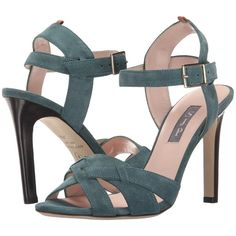 SJP by Sarah Jessica Parker Cameron (Evergreen Suede) Women's Sandals ($212) ❤ liked on Polyvore featuring shoes, sandals, green, suede shoes, ankle strap high heel sandals, green shoes, high heel platform sandals and high heel shoes