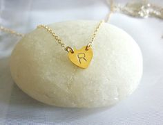 Dainty Heart Initial Necklace by MomentusNY, $30.00
