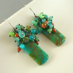 Peruvian  Opal  Green Onyx and Jasper Wire Wrapped by SurfAndSand, $109.00