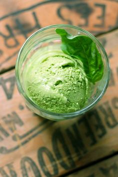 Vividly green and intensely flavored, this smooth basil gelato is a perfectly unexpected dessert. Vividly green and intensely flavored, this smooth basil gelato is a perfectly unexpected dessert. Tasty Ice Cream, Love Ice Cream, Ice Cream Flavors, Ice Cream Maker, Homemade Ice Cream, Gelato Homemade, Homemade Sorbet, Gelato Flavors, Homemade Breads