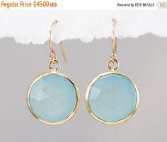 SALE - Aqua Blue Chalcedony Earrings - Seafoam Green Earrings - Round Gemstone Earrings - Gold Earrings - Drop Earrings