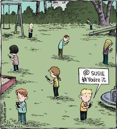This cartoon is an example of juvenalian satire. Children now are so familiar with phones that its changing the way they live. They can't even play a real game without a phone.