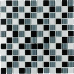 Elida Ceramica Charcoal Uniform Squares Mosaic Glass Wall Tile (Common: 12-in x 12-in; Actual: 11.75-in x 11.75-in)
