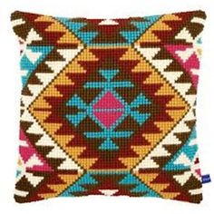 Ethnic Print Printed Cross Stitch Cushion Kit by Vervaco is a chunky cross stitch design which is printed on 5 count canvas for easy stitching. Cross Stitch Cushion, Cross Stitch Fabric, Cross Stitch Kits, Cross Stitch Designs, Cross Stitching, Cross Stitch Embroidery, Cross Stitch Patterns, Crochet Cushions, Crochet Pillow
