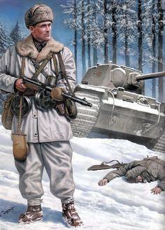 Finnish soldier armed with Suomi machine gun facing a destroyed Soviet invasion Kv-1 tank.