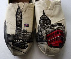 London Themed TOMS by TheLibertyLama on Etsy, $150.00