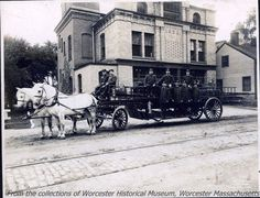 Horse and Ladder Fire Truck no. 4 in front of the Webster Square Fire Station… Worcester Massachusetts, Fire Trucks, New England, Vintage Photos, Cute Cats, The Past, Places To Visit, Street View, History