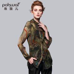 POKWAI High Quality Original Designed 100% Silk Shirt Women Full Sleeve Stand Collar Print Casual Tops
