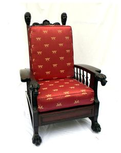 Antique Mahogany Morris Chair With Lion Heads On Arms 1890 From Front Porch  On Ruby