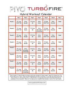 piyoturbofire hybrid calendar body pump workout exercise schedule fitness diet health