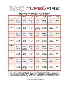 piyoturbofire hybrid calendar body pump workout exercise schedule fitness diet health