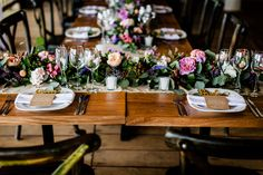 flowers and greenery as a table runner