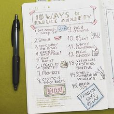 15 Ways to Reduce Anxiety: Here's a bullet journal page I like to read over if I'm feeling stressed or anxious.